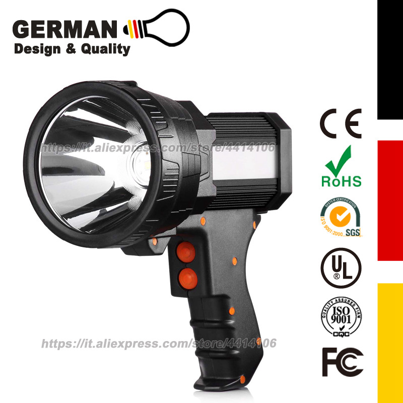 Rechargeable Spot Lights Hand Held Large Flashlight 6000 Lumen Handheld Super Bright Outdoor Spotlight Camping Flood Searchlight