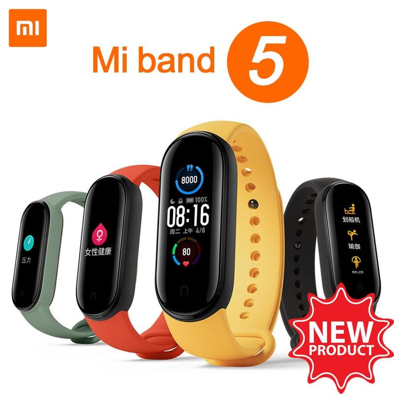 Новый смарт-браслет Xiaomi Mi Band 5, фитнес-трекер с сенсорным экраном 1,1 дюйма, спортивный монитор с Bluetooth, водонепроницаемые смарт-браслеты