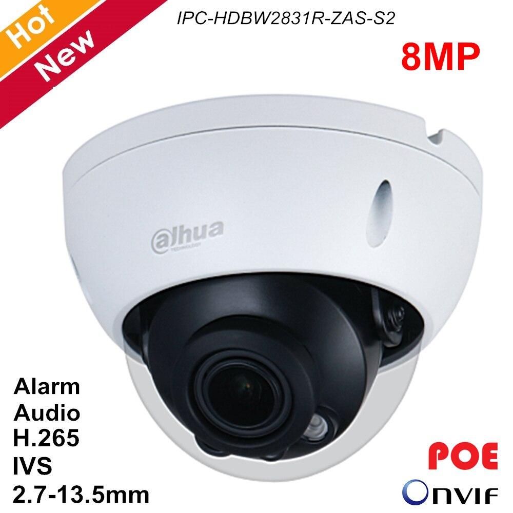 Dahua 8MP IP Camera POE Audio Outdoor Video Surveillance 4K Camera IR 40m H.265 2.7-13.5mm IVS H.265 IPC-HDBW2831R-ZAS-S2