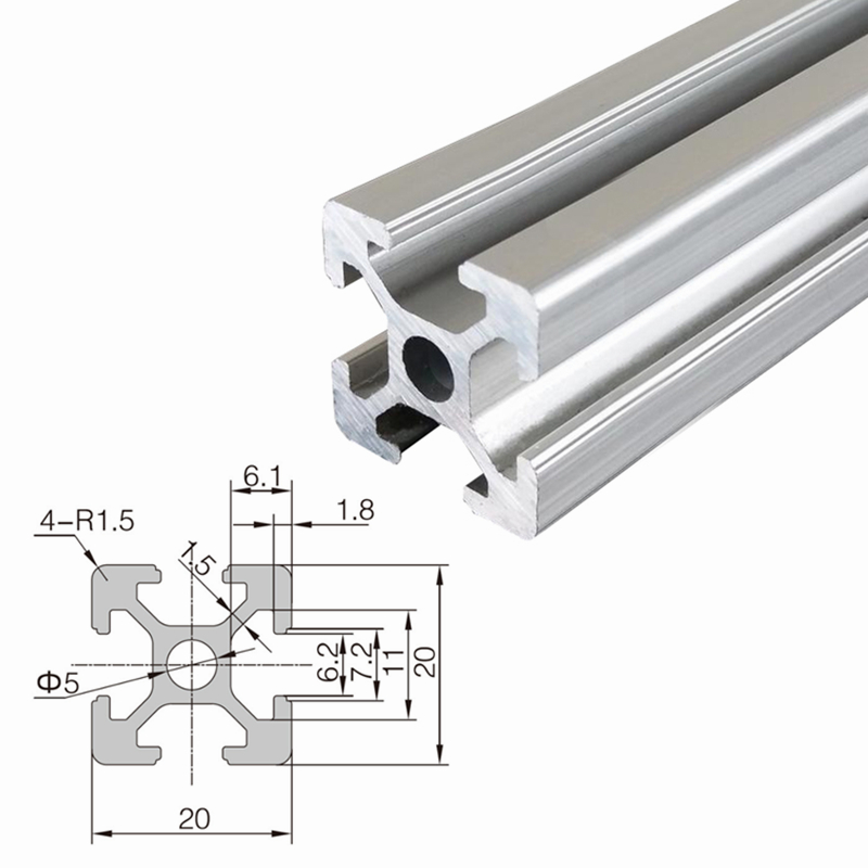Aluminum-<font><b>profile</b></font> extrusion-frame <font><b>2020</b></font> for laser cnc engraving woodworking machine 100mm-<font><b>1000mm</b></font> diy cnc tool image