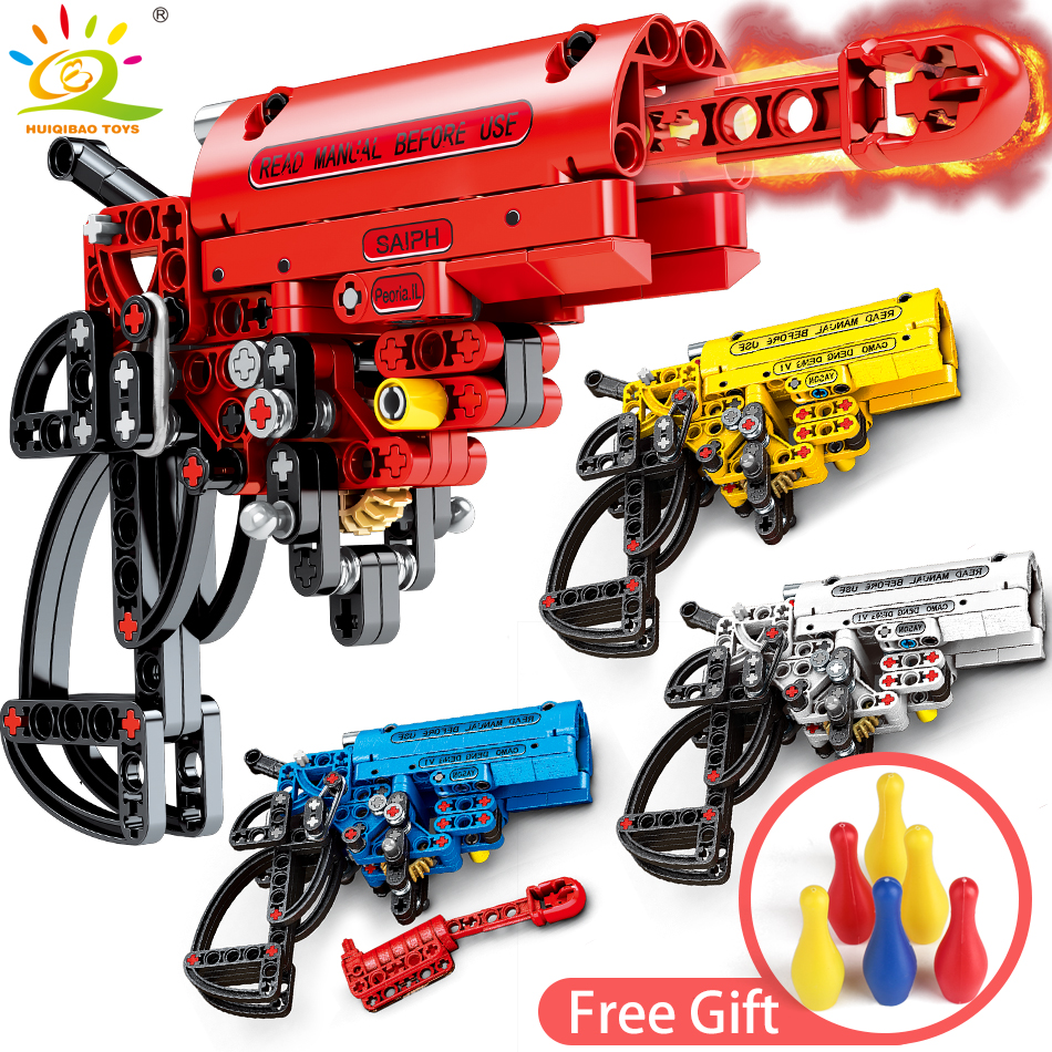 4Color Shooting Signal Gun Building Blocks Compatible legoingly Technic Weapon DIY Game Bricks Educational Toys for Children boy