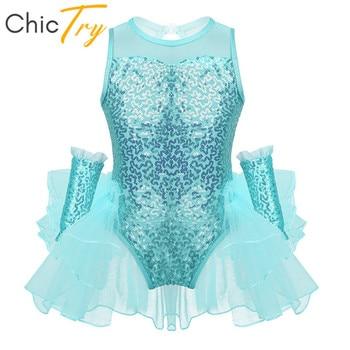 ChicTry Kids Dance Wear Sequins Ruffled Mesh Gymnastics Leotard for Girls Ballet Figure Skating Dress with Wrist Sleeves Costume - discount item  27% OFF Stage & Dance Wear