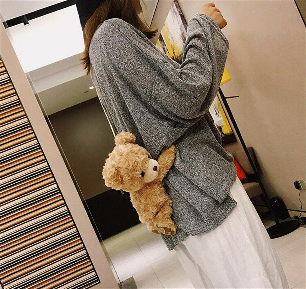 Women Cross Body Messenger Bag Small Handbag Shoulder Tote Satchel Retro Funny Girls Cute Smile Bear Plush Doll Lolita Handbag