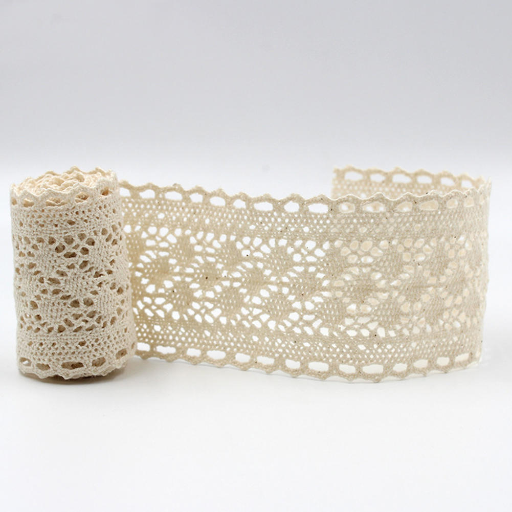 5yards Apparel Accessories Hometexile Embellishment Decoration Patchwork Beige Cotton Lace Trims Handmade DIY Ribbon Toughness