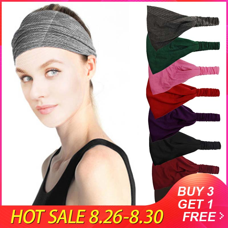 Belt-Tape Headband Elastic YOGA Wide Wraps Bandanas-Head Absorb-Sweat Lace Solid-Color