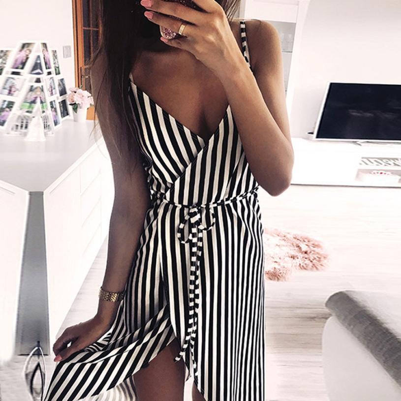 Dress Women Stripe Printing Sleeveless Off Shoulder Dress  Dress Women 2019