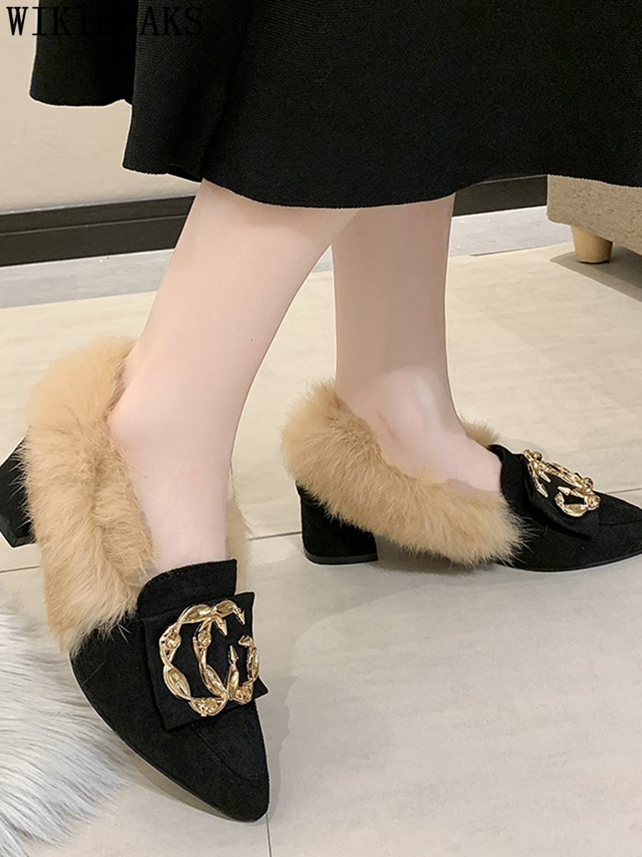 New Ladies Shoes Woman Slip On Loafers Pointed Toe Fur Flats Metal Decoration Women Shoes Zapatillas Mujer Casual Tenis Feminino