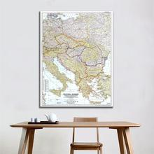 A2 Size Roll Packaged Crease-free Fine Canvas Map of Central Europe Including The Balkan States in 1951 Edition For Wall Decor