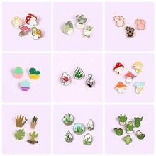 2-6 unids/set planta broches para las mujeres los hombres Cactus de flores esmalte Pin de solapa Pin de Metal lindo insignia regalo de la joyería al por mayor