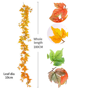 Image 5 - 180cm Artificial Plastic Plants Ivy Maple leaf garland tree Fake Autumn leaves Rattan Hanging Vines for Wedding Home Wall Decor