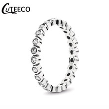 CUTEECO Silver-plated Alluring Brilliant Stackable Brand Finger Ring Clear CZ Original Fashion Wedding & Engagement Jewelry(China)