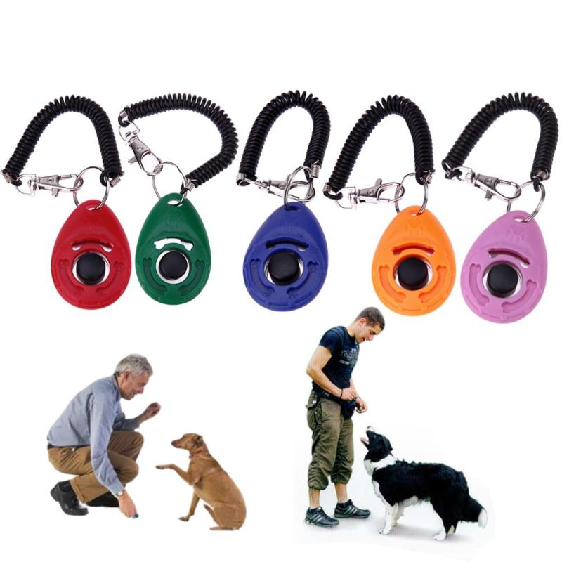 5 Colors 1PC Pet Bark Deterrents Dog Clicker Adjustable Sound Key Chain Wrist Strap Puppy Dog Cats Pets Trainings Click