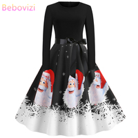 Bebovizi Winter Dresses Women 2019 Christmas Party Vestidos Santa Claus Print Vintage Plus Size Elegant Black Long Sleeve Dress