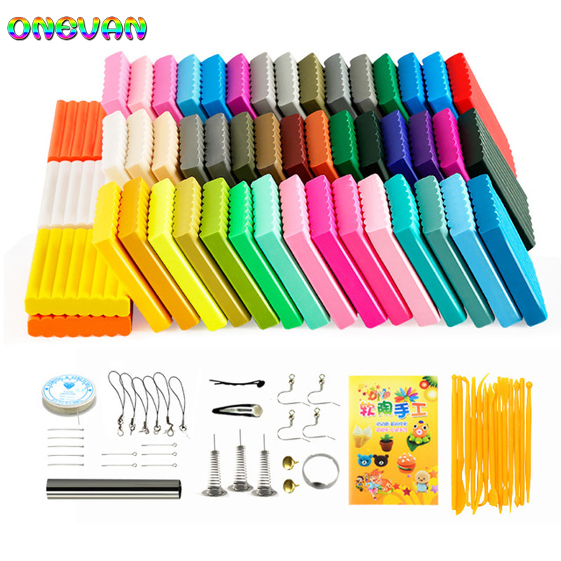 50 Colors Soft Clay DIY Toys Children Educational Air Dry Polymer Clay Plasticine Safe Colorful Craft Oven Baking Clay Blocks
