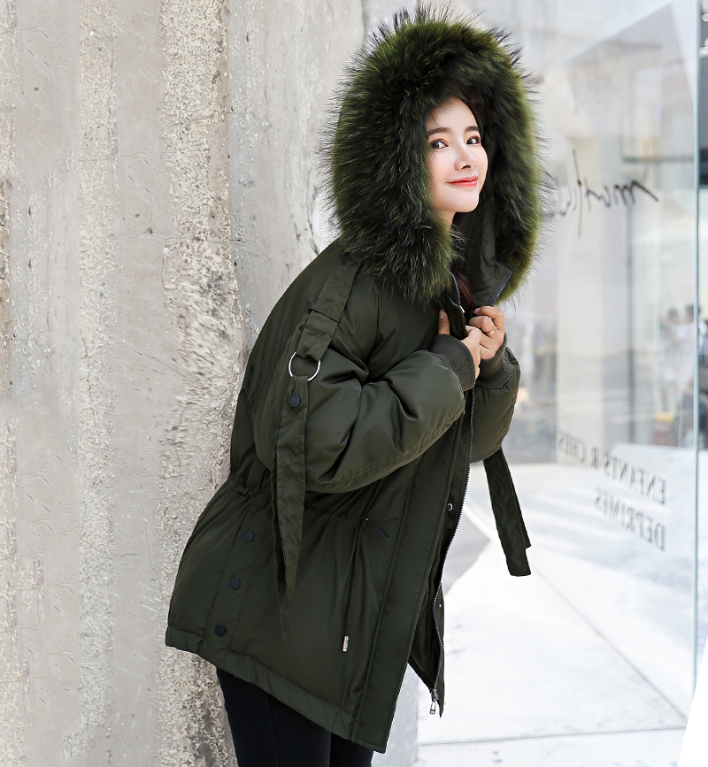 Korean Style 2019 Winter Jacket Women Cotton Padded Hooded With Fur Fe_A6_7