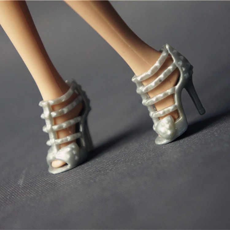 1 çift için barbie bebek ayakkabı orijinal bjd 1/6 bebek aksesuarları siyah mor ayakkabı barbie bebek ev elbise