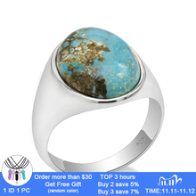 Real 925 Sterling Silver Ring for Man With Blue Natural Stone Vintage Elegant Rings Male Women Unisex Turkish Handmade Jewelry