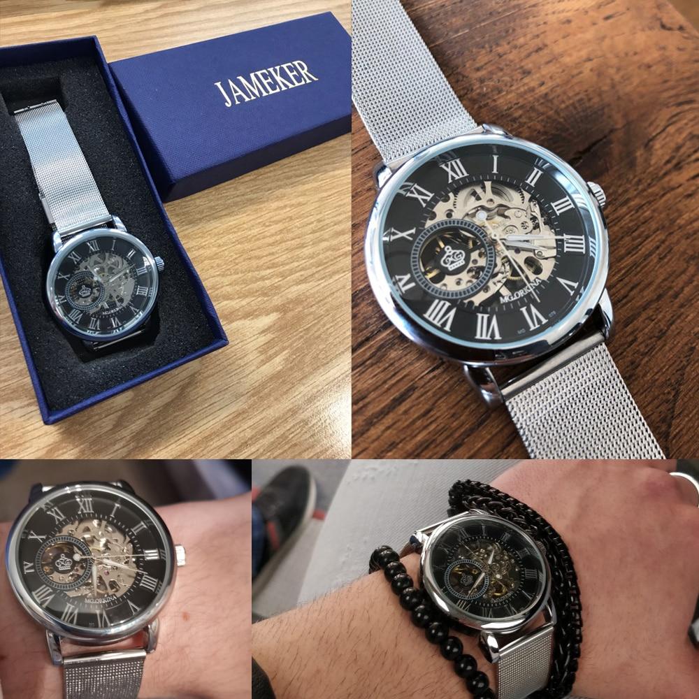 H2ec6b0a12e044fc296ba154139372e13J Coupons Sale Men Watches Mechanical Hand Wind Luxury Top Brand ORKINA Skeleton Stainless Steel Bracelet Mesh Strap Men's Watches