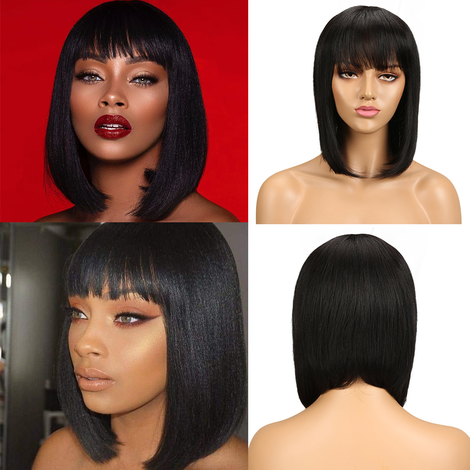 Black Pearl Mix Color Short Cut Straight Hair Wig Peruvian Remy Human Hair Wigs For Black Women Brown Ombre Red Blue Wig