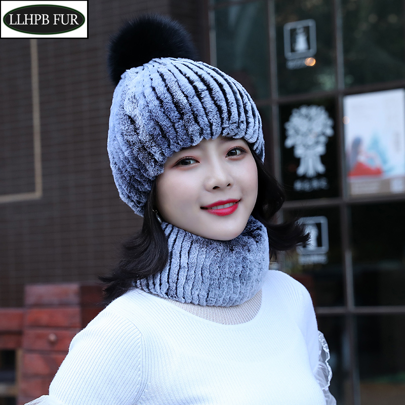 Real Fur Girls Hats Scarves Sets Women Winter Knitted Rex Rabbit Fur Hat Scarf Fluffy Warm 100% Natural Fur 2 Pieces Hat Scarf