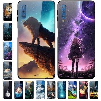 Funda trasera dura de cristal templado para Samsung A7 2018 para Samsung Galaxy A7 2018, carcasa protectora para teléfono A 7 7A A750