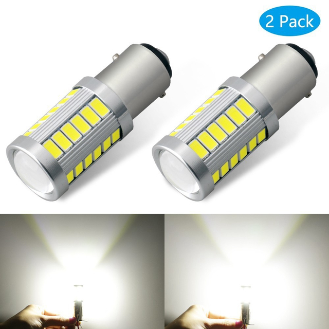 2PCS Universal 1157 BAY15D 1156 Ba15s 33SMD P21W 900 Lumens Super Bright LED Turn Tail Brake Stop Signal Light Lamp Bulb 12V