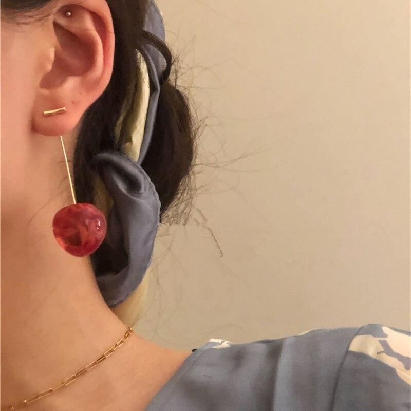 1 paar 2020 Mode Niedlichen Roten Kirschen Obst Ohrringe Japan Chic Kirsche Trockenen Blume Lange Baumeln Ohrring Partei Schmuck geschenke