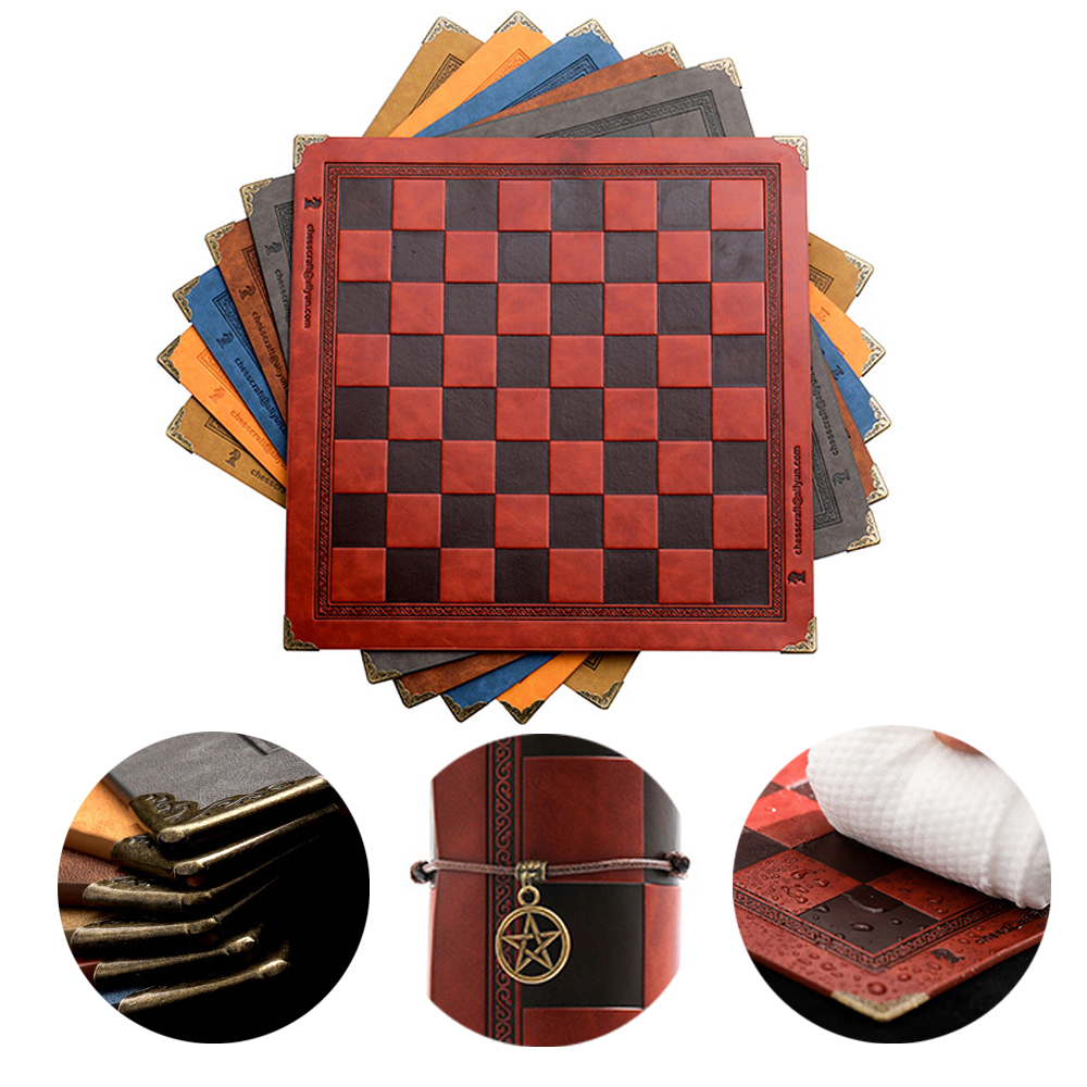 Chess Board 8 Colors Embossed Design Leather Table Game Portable Universal Luxury Knight Chess Intellectual Competitive Toy Gift