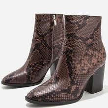 Brown Ankle Boots For Women Platform Snake Print 2019 Autumn Short Girl Boots 8CM Block High Heeled Shoes Size 36-43 chain design block heeled ankle boots