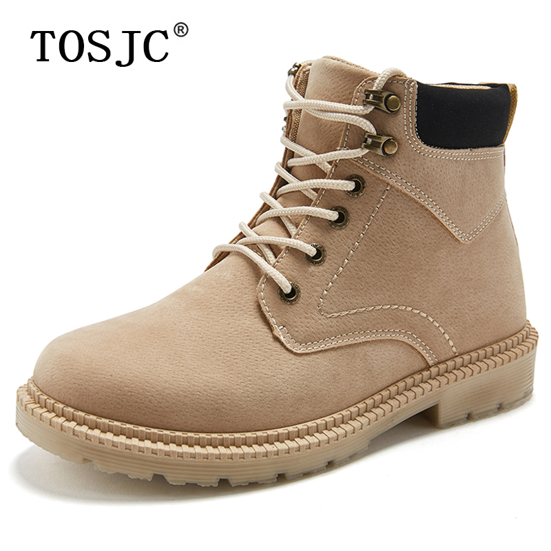 TOSJC Mens Casual Ankle Boots Military Army Boots Casual Desert Work Shoes Ankle Cowboy Boots For Hikers Lace-up Combat Boots