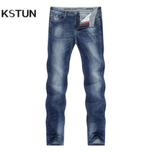KSTUN Jeans Men Stretch Summer Blue Business Casual Slim Straight Jeans Fashion Denim Pants Male Trousers Regular Fit Large Size
