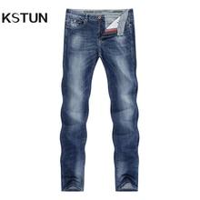 KSTUN ג ינס גברים למתוח קיץ כחול עסקים מקרית Slim ישר ג ינס אופנה ג ינס מכנסיים זכר מכנסיים כושר רגיל גדול גודל