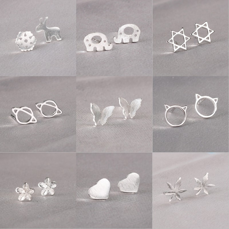 ROXI 925 Sterling Silver Stud Earrings for Women Girls Cute Animal Star Heart Leaf Christmas Earrings Korean Jewelry Party Gifts