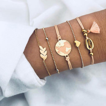 5Pcs/set Bohemian Gold color Moon Leaf Crystal Opal Open Bracelet Set for Women Punk Boho Beach Bangle Jewelry Gift 7