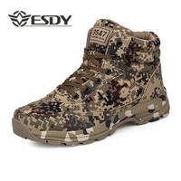 Winter Outdoor Men Warm Hiking Shoes Camouflage Desert Military Waterproof Shoes Plus Velvet Super Light Trekking Tactical Boots