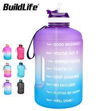 BuildLife 1 ליטר בקבוק מים עם קש זמן סמן 3.78L 2.2L 1.3L BPA משלוח פלסטיק גדול קיבולת כושר ספורט מים כד