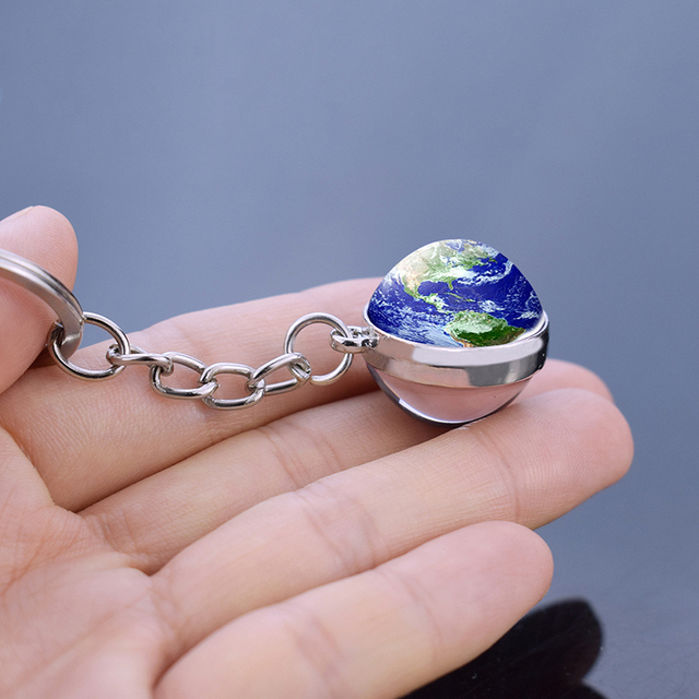 Earth Moon Keychain Galaxy Solar System Planet Glass Ball Pendant Keyrings Universe Sun Jupiter Double Side Glass Ball Jewelry 1