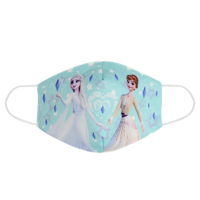 2020 Adult Kids Cotton Elsa Anna Masks Cartoon Print Boys Girls Dustproof Earloop Anti-dust Anti-Pollution Face Mouth Mask 2