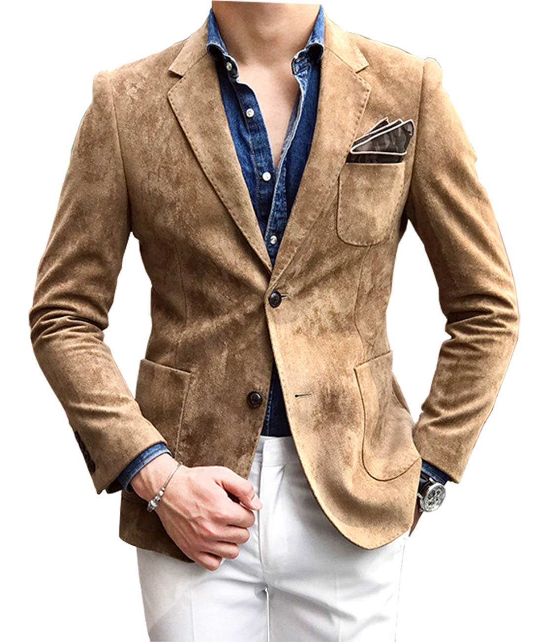 Solovedress Mens Suit White Pants Suede Blazer Notch Lapel Suede Wear Coat Formal Jacket Single Breasted Wedding Groomsmen M06