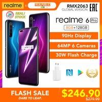 Realme-teléfono móvil 6 Pro, 8GB RAM, 128GB ROM, versión Global, Snapdragon 720G, 30W, carga de Flash, cámara de 64MP, enchufe de la UE, nfmóvil