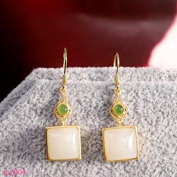 KJJEAXCMY boutique jewelry s925 sterling silver jewelry women's gold-plated inlaid Hetian white jade earrings new geometry
