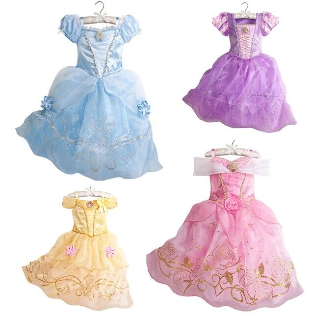 בנות מסיבת שמלת ילדים שלג לבן ליל כל הקדושים תלבושות תינוקת נסיכת שמלת חג המולד אורורה סופיה Belle שמלת עבור 2 3 4 5 6 7Y