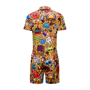 Image 3 - Summer New Design Overalls Mens Rompers 3D Funny Graphic Casual Jumpsuit Male Beach Sets One piece Outfits Plus Size Playsuit