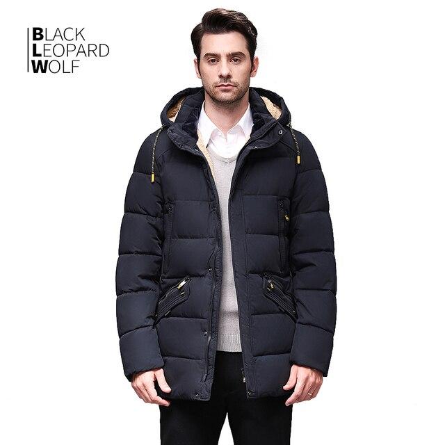 Blackleopardwolf 2020 חורף למטה מעיל גברים מעיל חורף גברים של מעילי אמצע אורך סלעית חם מקרית סמני Parka BL 833