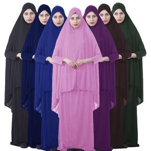Image 1 - Kalenmos Formal Muslim Prayer Garment Sets Women Hijab Dress Abaya Islamic Clothing Dubai Turkey Namaz Long Khimar Jurken Abayas