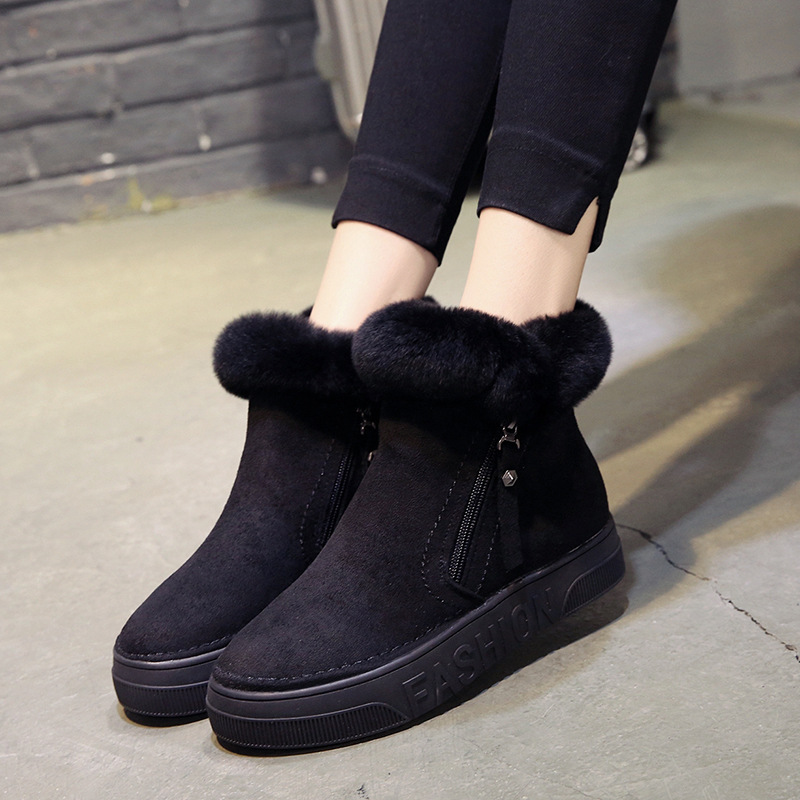 Women Short Ankle Boots Winter Plush Warm Thick Bottom Platform Round Toe Students Leisure Flat Ankle Snow Boots Botas Mujer 33