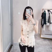 High Quality Diamonds Button Embroidery Lace Womens Top Shirts Fashion V-Neck See Through Slim Fit Ladies Sleeveless Vest Blouse(China)