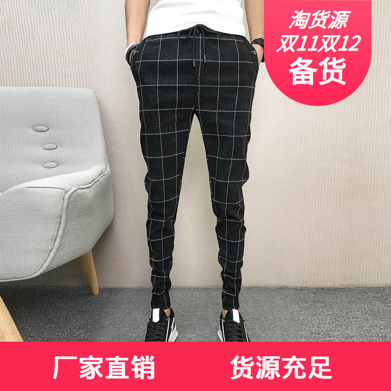 Korean-style Slim Fit Trend Social Person Lively Fella Casual Capri Pants MEN'S Trousers Network Red Plaid Skinny 9 Pants 8