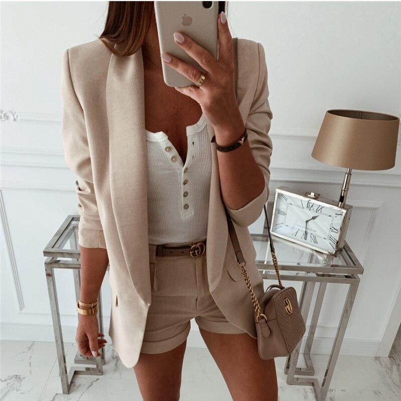 2019 модное пальто женский осенне-зимний топ с длинным рукавом офисный Женский блейзер элегантный винтажный OL корейский Блейзер уличная