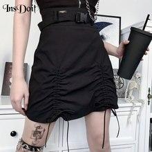 InsDoit Harajuku Gothic Black High Waist Mini Skirt Women Punk Streetwear A-line